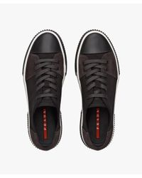 Prada Black Fabric And Leather Sneakers for men