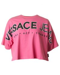 Versace Jeans - Pink Letter Logo Cropped - Lyst