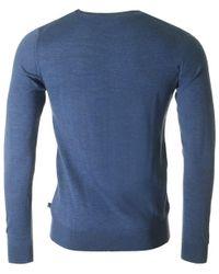 J.Lindeberg Blue Edvin Light Merino Crew Neck Knit for men
