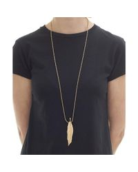 Olia Jewellery - Metallic Sylrie Feather Necklace - Lyst