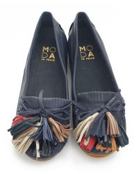 Moda In Pelle | Blue Square Fringed Boat Shoes | Lyst