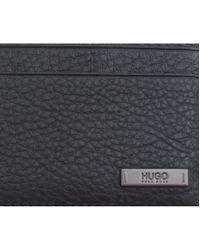 HUGO - Black Element Leather Card Holder for Men - Lyst