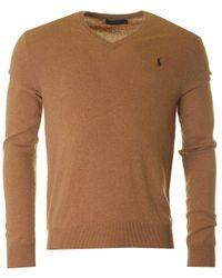 Polo Ralph Lauren | Natural V Neck Lux Merino Knit for Men | Lyst