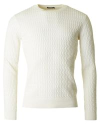 J.Lindeberg - White Karl Cable Knit Crew Neck Knit for Men - Lyst
