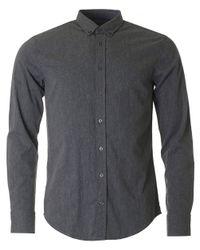 BOSS Orange | Gray Edipoe Slim Fit Slub Yarn Shirt for Men | Lyst
