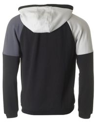 EA7 - Black Tri Tonal Fleece Zip Through Hoody for Men - Lyst