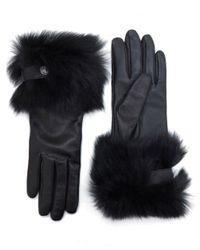 UGG | Black Leather Toscana Fur Trim Gloves | Lyst