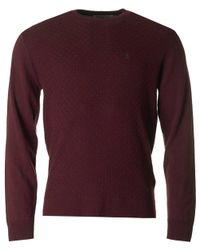 Original Penguin | Purple Basket Weave Merino Crew Neck Knit for Men | Lyst