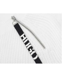 HUGO - White Shailey Logo Zip Detail Jumper - Lyst