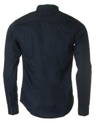 Armani - Blue Long Sleeved Concealed Placket Shirt for Men - Lyst