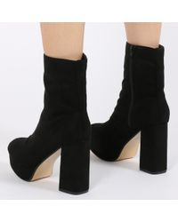 Public Desire Trudy Chunky Platform Ankle Boots In Black Faux Suede