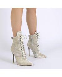 Public Desire   Multicolor Annika Lace Up Sport Stripe Ankle Boots In Champagne Velvet   Lyst