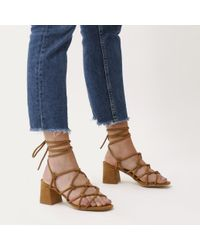 f85afe1d63 Public Desire. Women's Blue Freya Knotted Strappy Block Heeled Sandals In  Tan ...