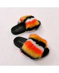 Public Desire - Kabuki Stripe Slider In Orange Faux Fur - Lyst