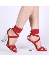 Public Desire - Multicolor Ariel Perspex High Heels In Red Faux Suede - Lyst