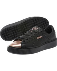PUMA - Black Basket Platform Metallic Women's Sneakers - Lyst