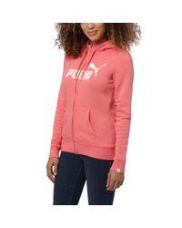 PUMA | Pink Essential No. 1 Zip-up Hoodie | Lyst