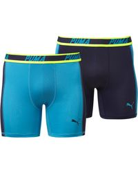 PUMA | Blue Solid Side Panel Boxer Briefs (2 Pack) for Men | Lyst