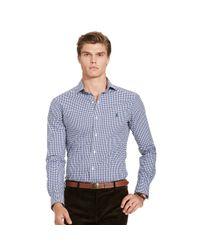 Polo Ralph Lauren | Blue Checked Poplin Sport Shirt for Men | Lyst