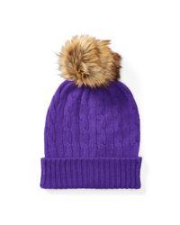 Polo Ralph Lauren | Purple Cable-knit Cashmere Hat | Lyst