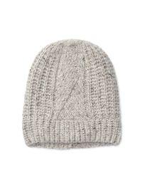 Polo Ralph Lauren | Gray Aran-knit Merino-blend Hat | Lyst