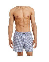 Polo Ralph Lauren - Blue Plaid Cotton Boxer for Men - Lyst