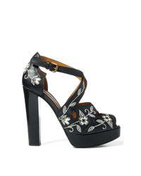 Ralph Lauren - Black Vanesa Floral Calfskin Sandal - Lyst
