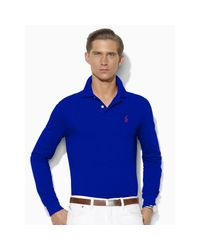 Polo Ralph Lauren | Blue Custom Fit Cotton Mesh Polo for Men | Lyst