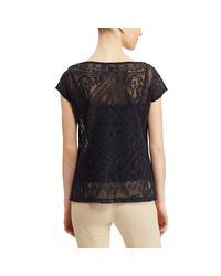 Ralph Lauren - Black Embroidered Sheer Top - Lyst