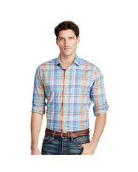 Polo Ralph Lauren | Blue Plaid Cotton Poplin Shirt for Men | Lyst