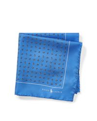 Polo Ralph Lauren - Blue Pine-print Silk Pocket Square for Men - Lyst