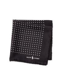 Polo Ralph Lauren - Black Polka-dot Silk Pocket Square for Men - Lyst