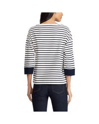 Ralph Lauren - Blue Jersey Lace-up-sleeve Top - Lyst