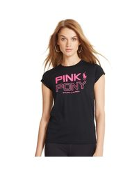 Ralph Lauren | Black Pink Pony Cotton Graphic Tee | Lyst