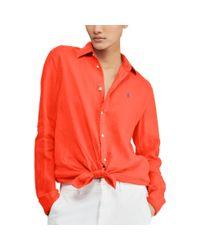 Polo Ralph Lauren Red Relaxed Fit Linen Shirt
