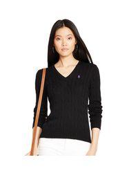Polo Ralph Lauren | Black Cable Cotton V-neck Sweater | Lyst