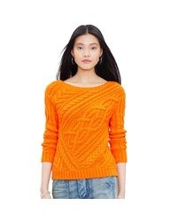 Polo Ralph Lauren | Orange Cable-knit Cotton Sweater | Lyst