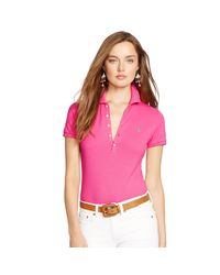 Polo Ralph Lauren   Pink Skinny Stretch Polo Shirt   Lyst