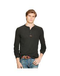 Polo Ralph Lauren | Black Cotton Jacquard Henley for Men | Lyst