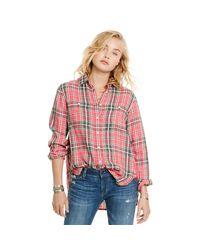 Denim & Supply Ralph Lauren | Red Plaid Cotton-linen Shirt | Lyst