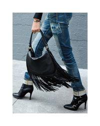 Polo Ralph Lauren - Black Fringed Leather Saddle Bag - Lyst
