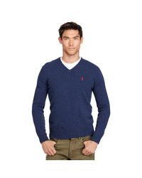 Polo Ralph Lauren | Blue Wool V-neck Sweater for Men | Lyst