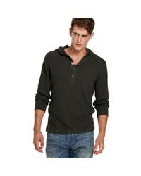 Denim & Supply Ralph Lauren - Gray Waffle-knit Hooded Henley for Men - Lyst