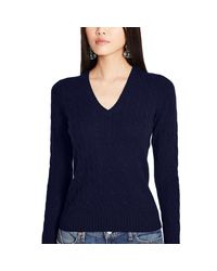 Polo Ralph Lauren - Blue Cabled Cashmere V-neck Sweater - Lyst