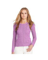 Polo Ralph Lauren | Purple Cable-knit Crewneck Sweater | Lyst