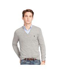 Polo Ralph Lauren | Gray Slim-fit Merino-blend Sweater for Men | Lyst