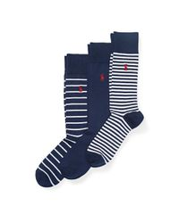 Polo Ralph Lauren | Blue Striped Trouser Sock 3-pack for Men | Lyst