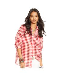 Denim & Supply Ralph Lauren - Red Plaid Cotton Gauze Shirt - Lyst