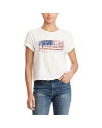 Polo Ralph Lauren - White Flag Cropped Cotton T-shirt - Lyst