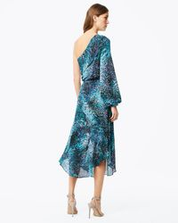 Ramy Brook - Blue Printed Courtney Navy One-sleeve Maxi Cocktail Dress - Lyst